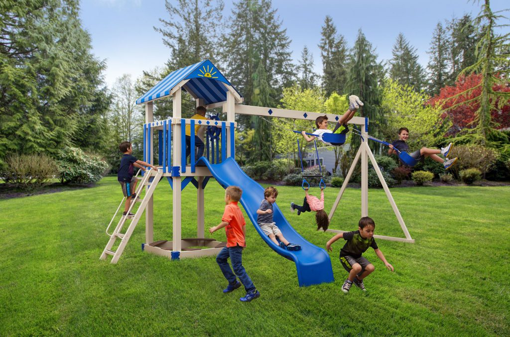 kids playing on a playset